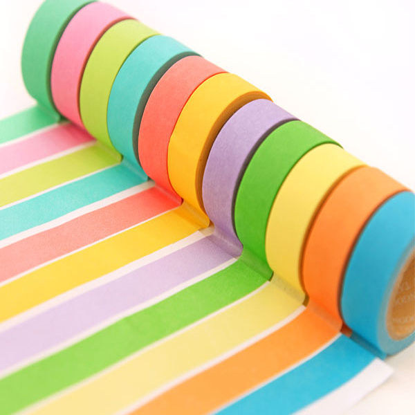 5Pcs Colourful packing tape 3m transparent tape paper Rainbow Sticky Paper Masking Adhesive Decorative Tape Scrapbooking
