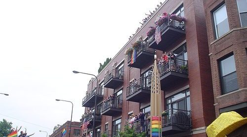 Boystown buildings with balconys