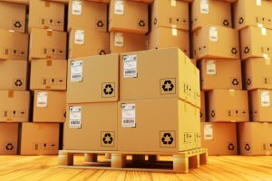 Distribution warehouse, package shipment, freight transportation and delivery concept