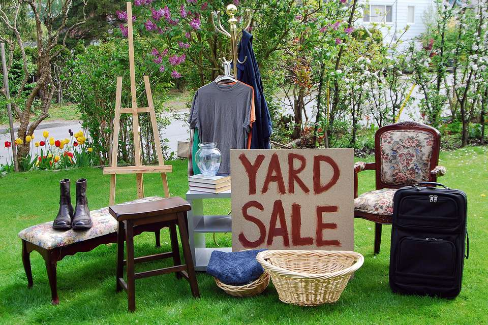 Items for sale in a yard sale